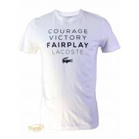 Camiseta Lacoste Courage Victory Fairplay. Branca e Azul Marinho 6363cc738d