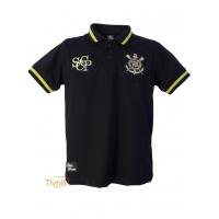 Camisa Polo Ouro Infantil Corinthians Natural Sports   Preta e Dourada   c12f62638672f
