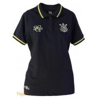 Camisa Polo Ouro Feminina Corinthians Natural Sports   Preta e Dourada   b4ffbb8990779