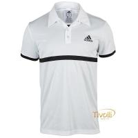 Camisa Polo Adidas Court. Branca e Preta 2a9d3d0b97