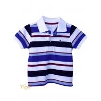 5df0883438 Polo Tommy Hilfiger Leo Infantil. Listrada branca