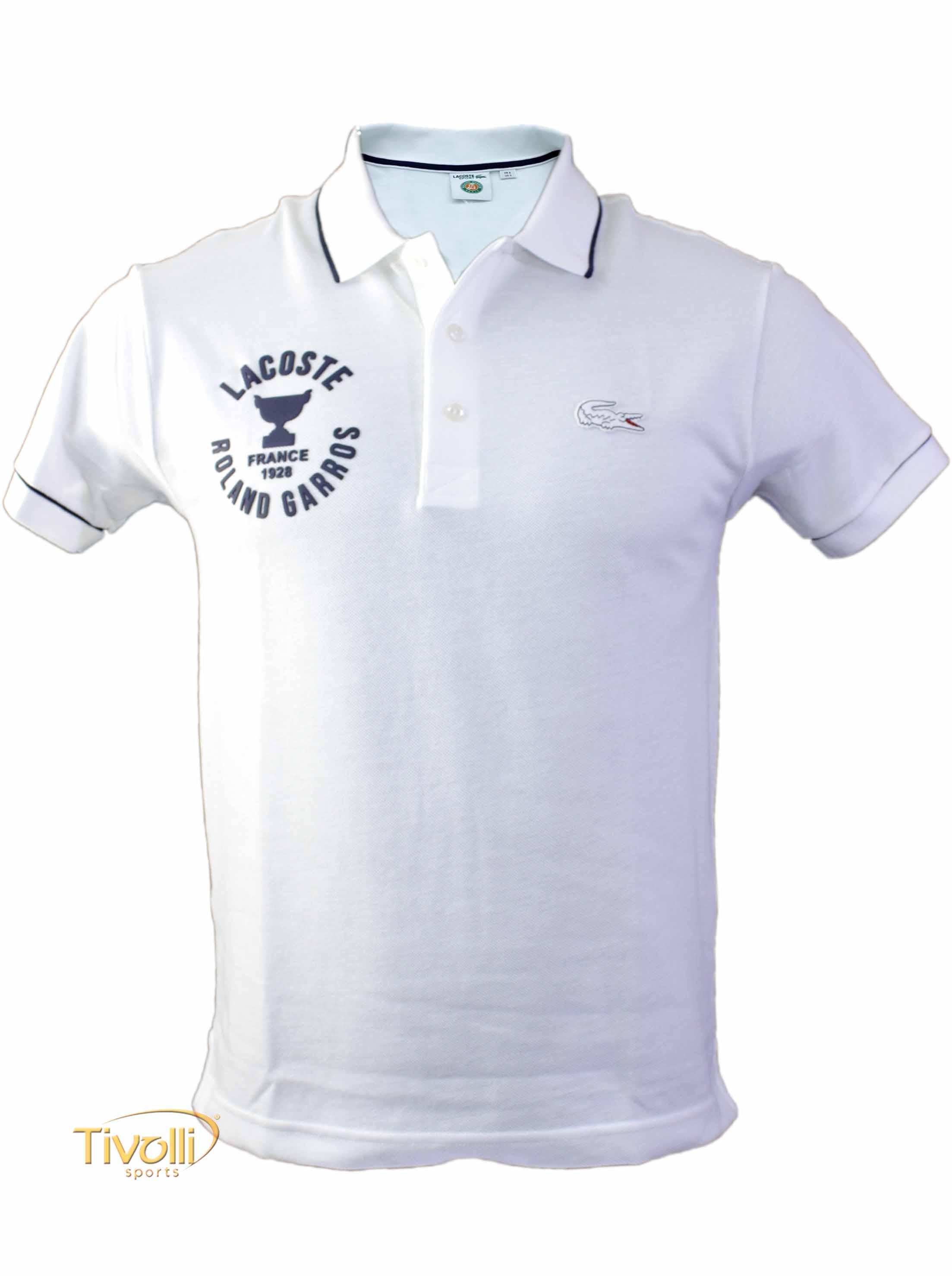 Camisa Polo Lacoste Sport Roland Garros Paris   Branca e Azul Marinho   3981519bb8