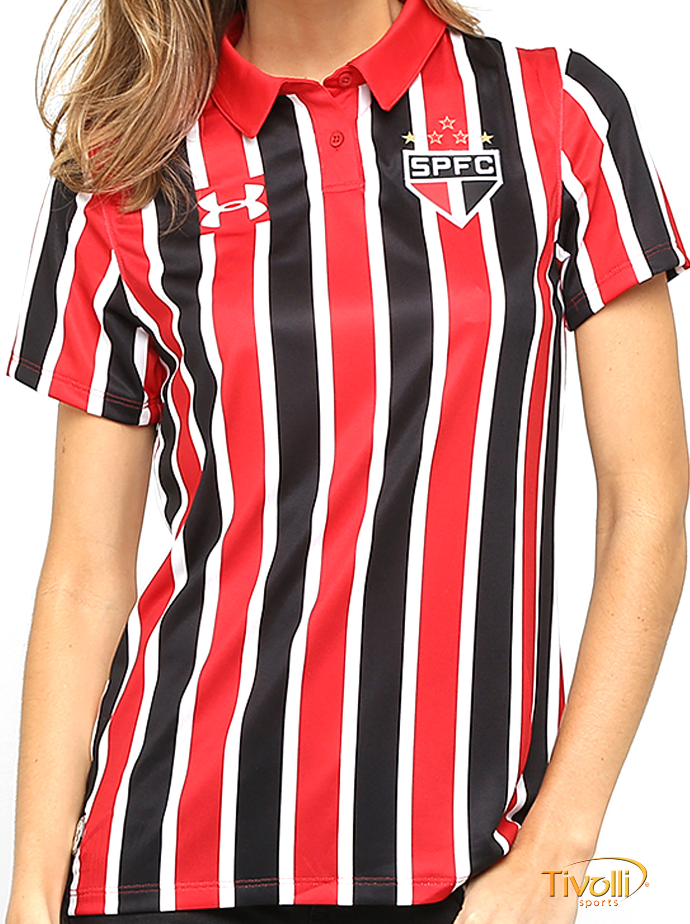 c85078f74dc03 Camisa São Paulo SPFC II Away 2016 Under Armour   Feminina Vermelha ...