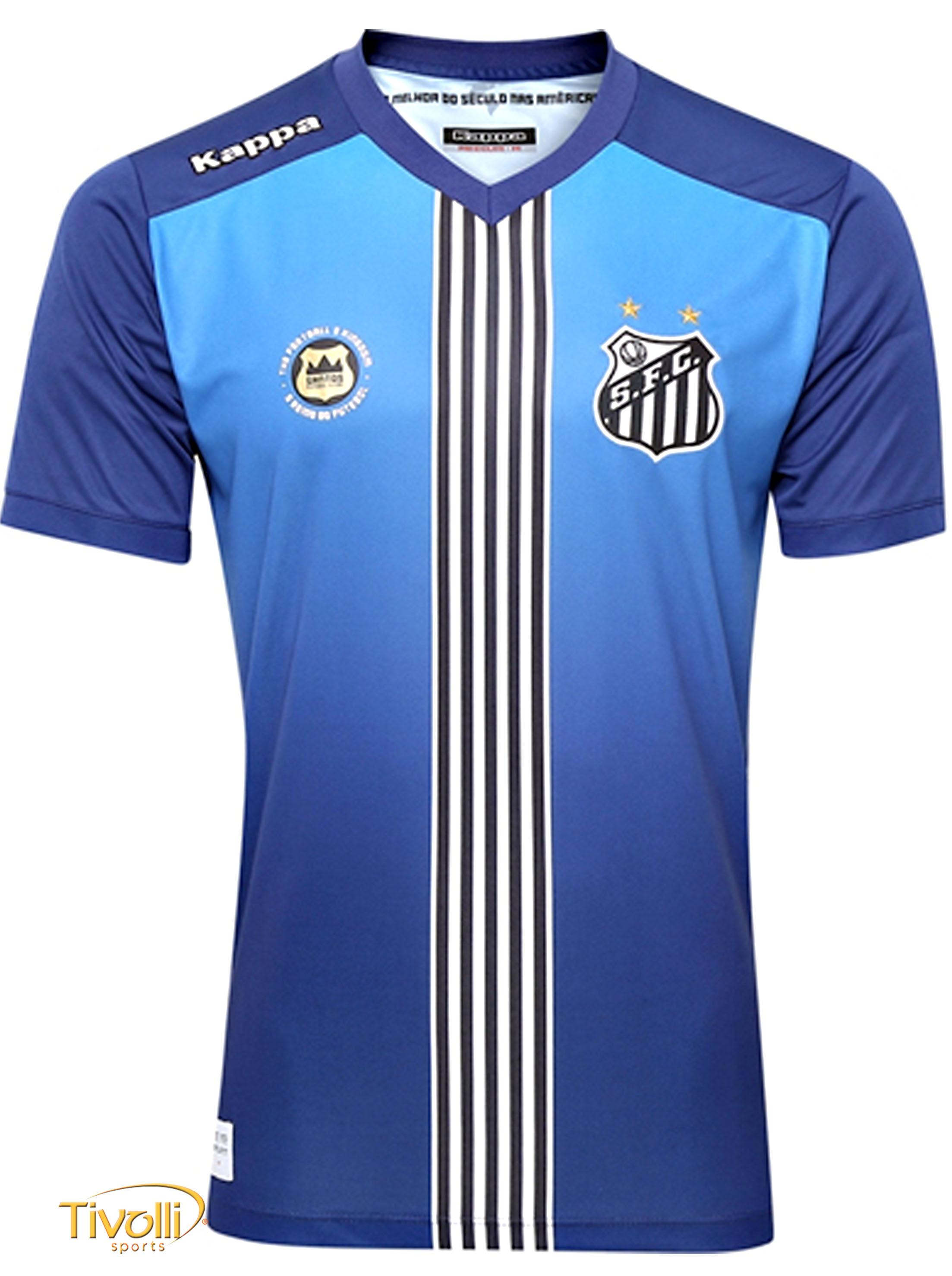 Camisa Santos FC III 2016 2017 Kappa   Infantil Azul 21ef8fa6c69d8