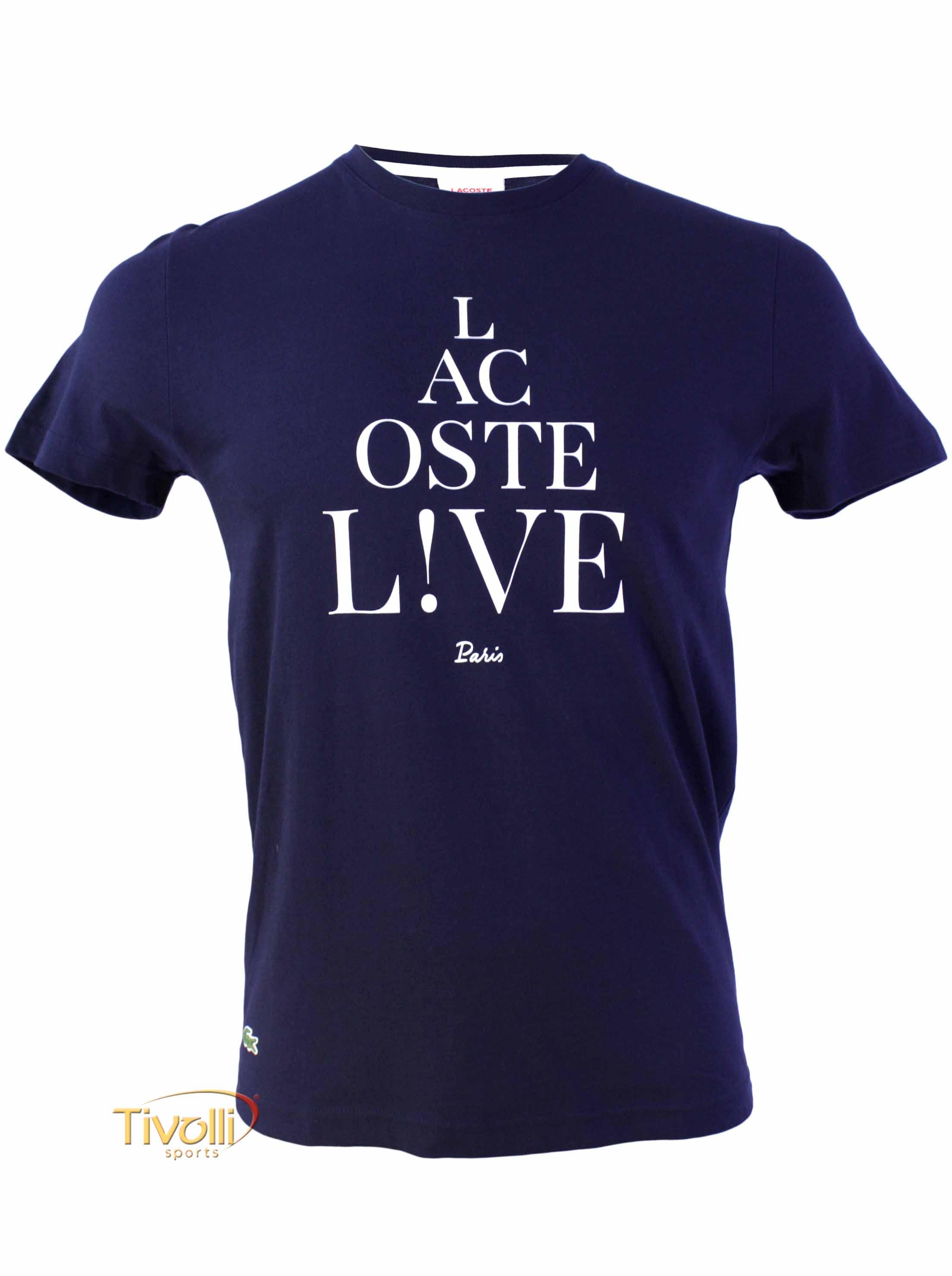 13f7fdc1390bf Camiseta Lacoste Live   Marinho e Branca