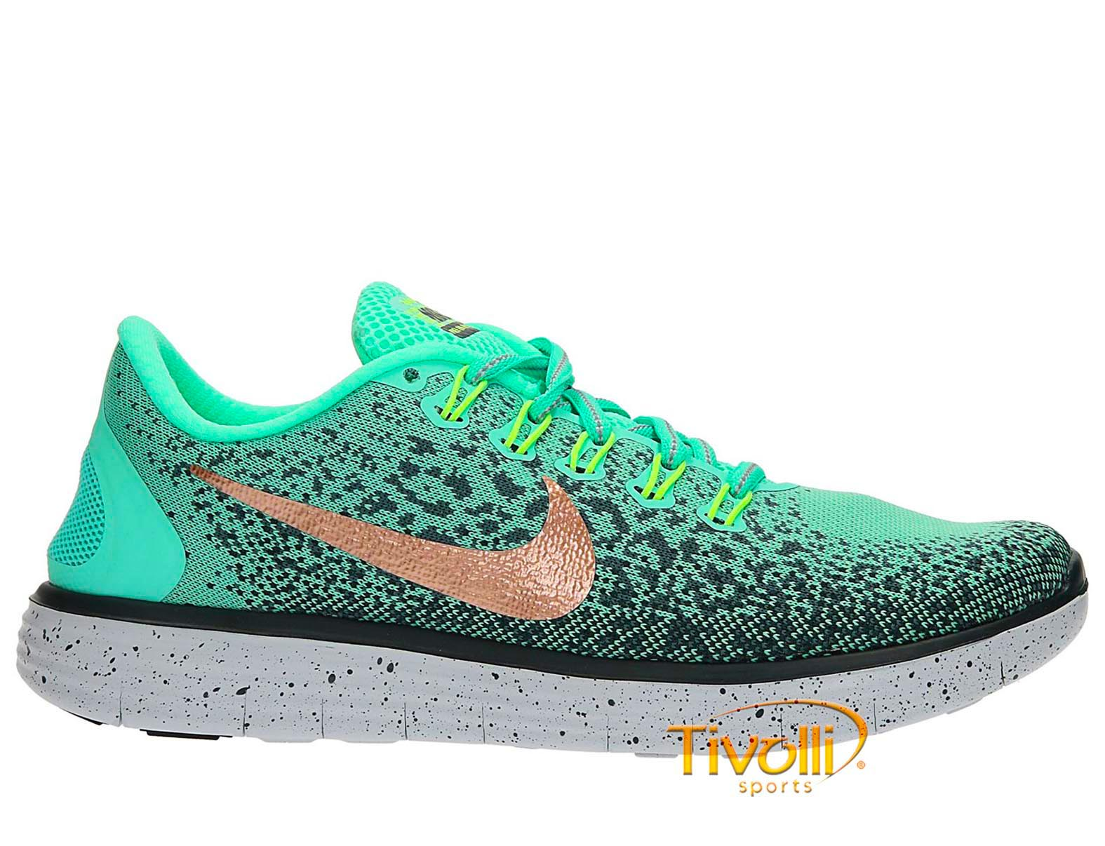 Tênis Nike Free Rn Distance Shield Verde Cinza E Dourado