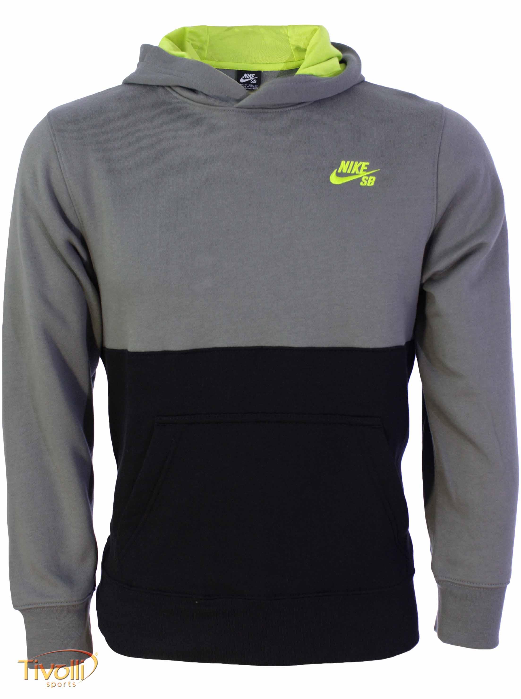 d5eec42240 Blusa de Moletom Nike SB   Infantil Cinza e Preta