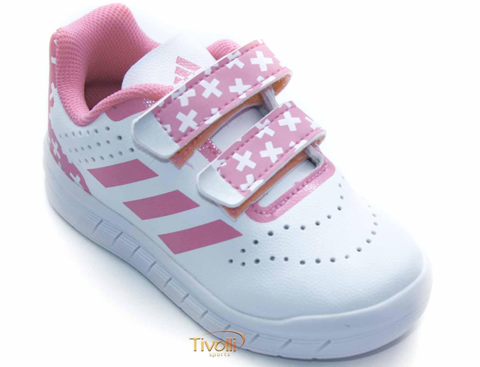 bd6bf39299 Tênis Adidas QuickSport CF I   Infantil Branco e Rosa