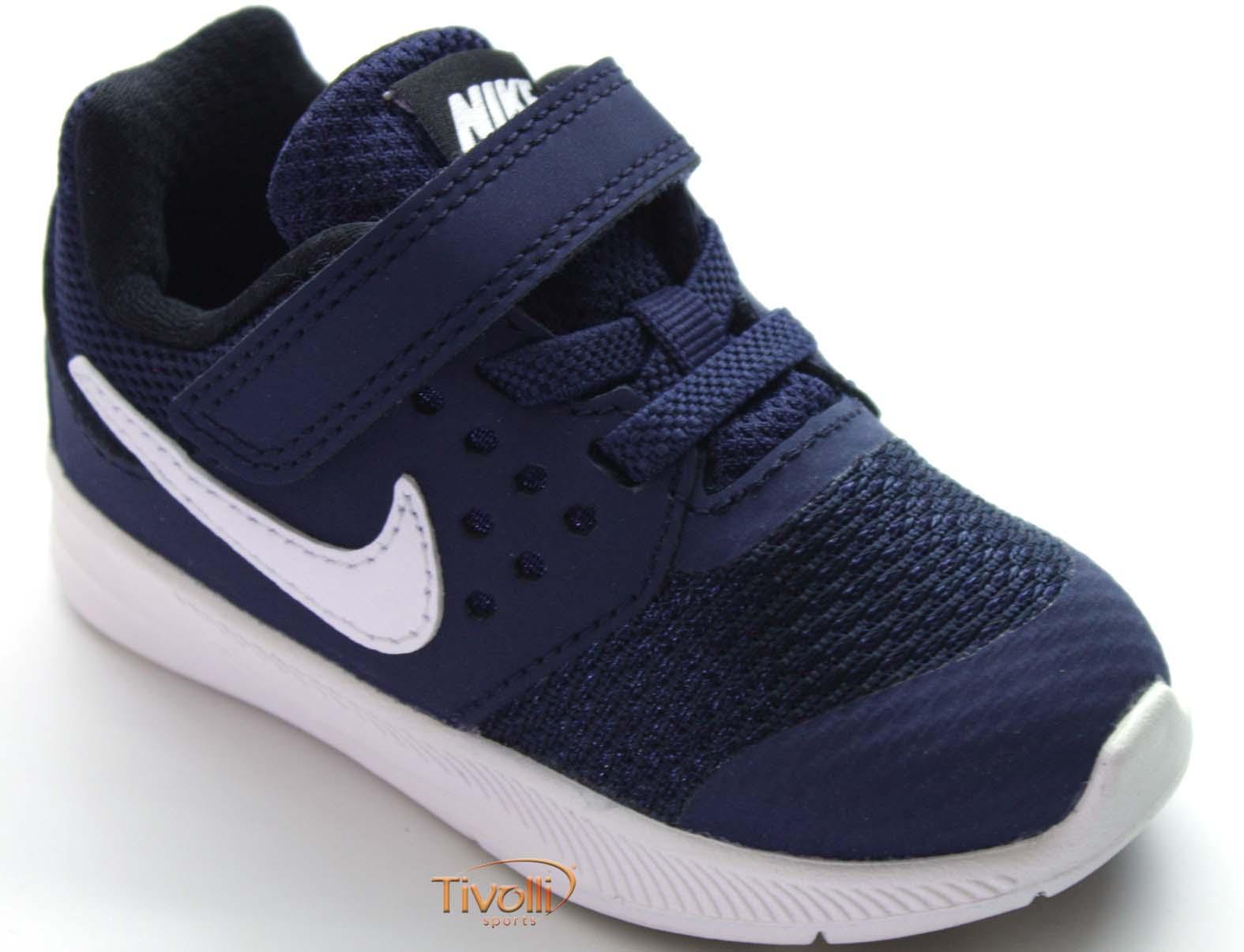 872c9c93f76 Tênis Nike Downshifter 7 (TDV) Infantil Azul marinho e branco- Tamanhos 18  ao 26