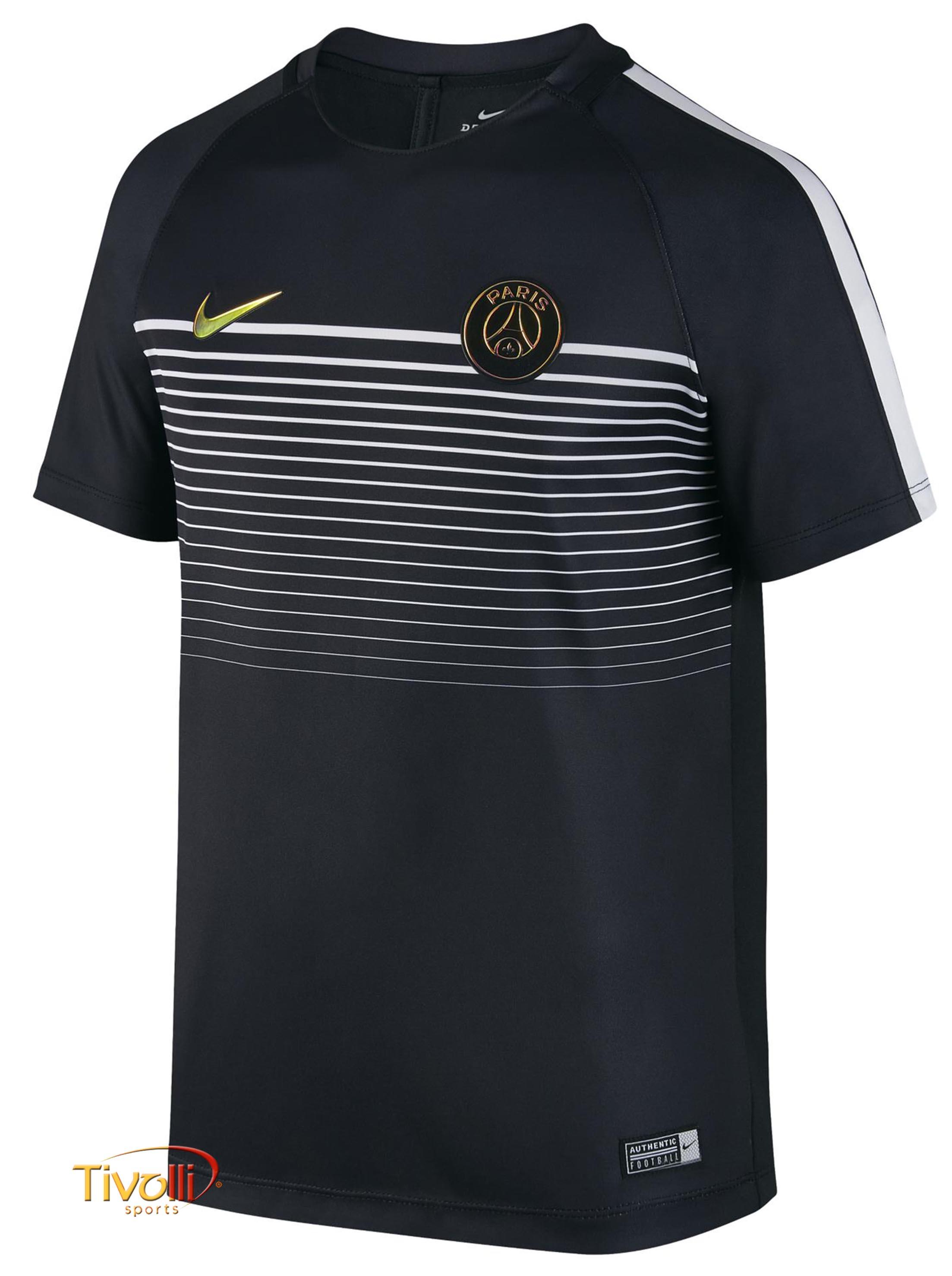 Camisa Nike PSG Paris Saint-Germain Top Squad Infantil Preta e Branca a5633e98cc0b4
