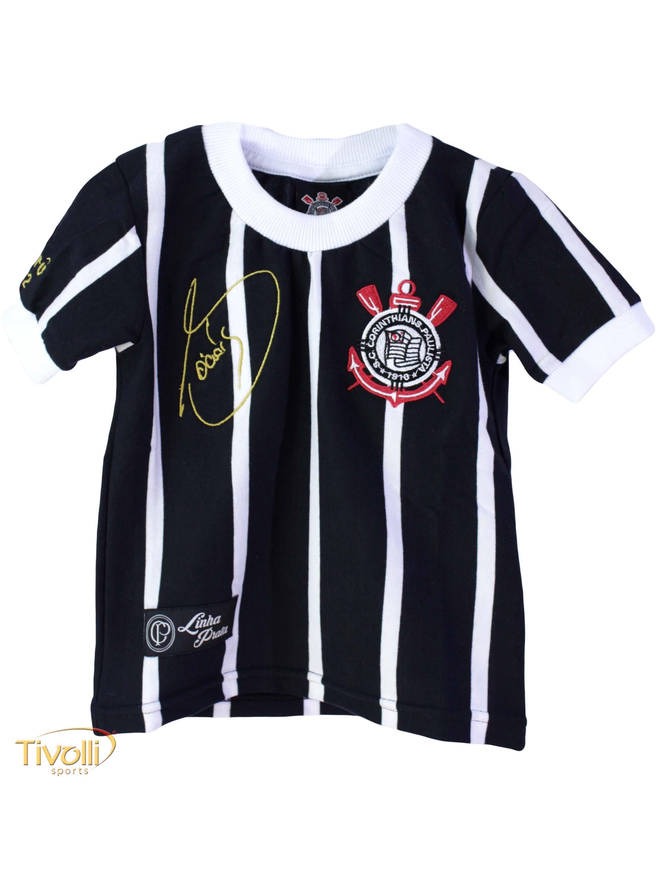Camisa Corinthians Réplica Sócrates Democracia Corinthiana 1982 Infantil  Listrada Preta e Branca 284f18a1ce00a
