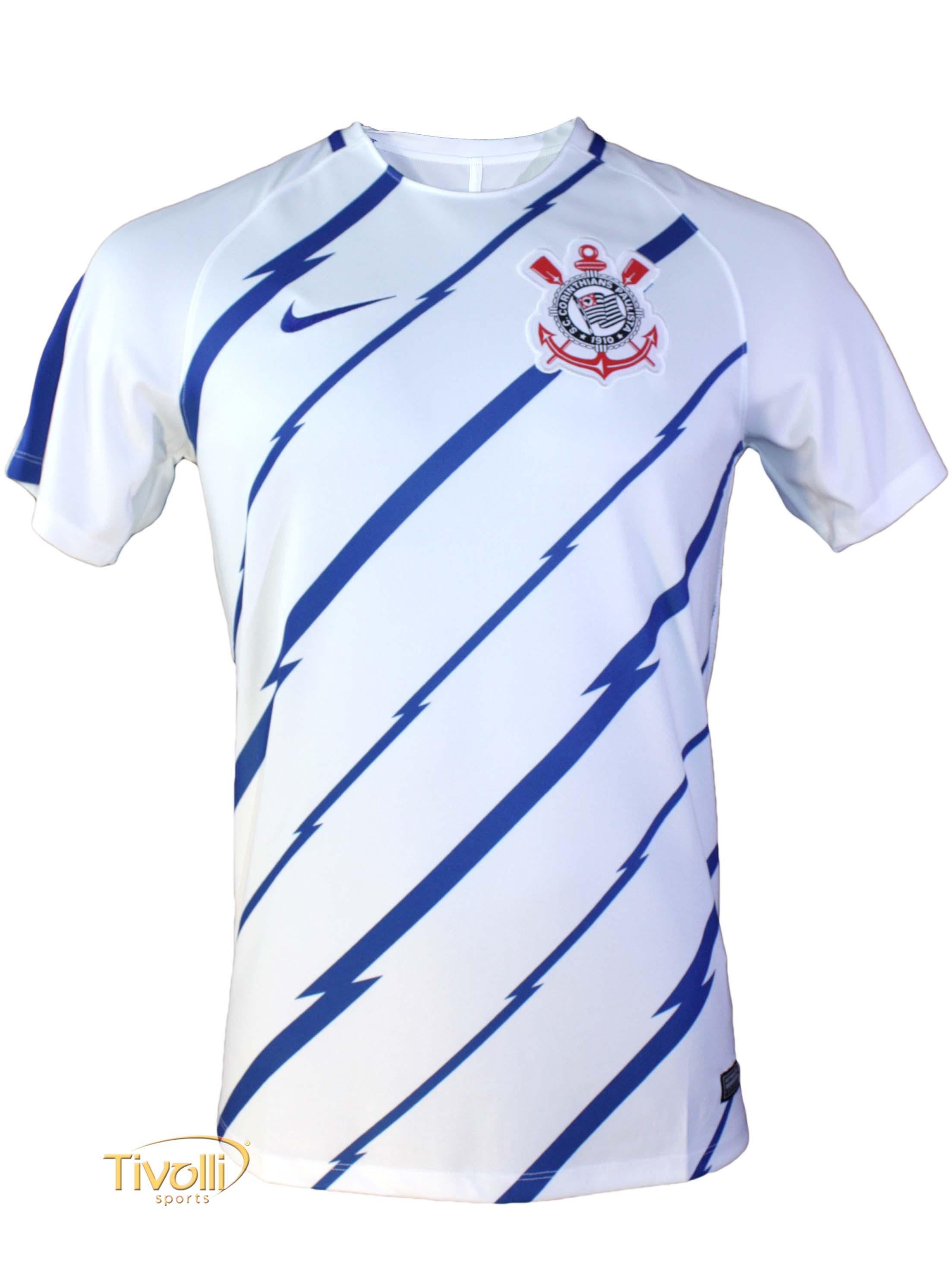 Camiseta Nike Breathe Top SS Squad S.C. Corinthians Pré Jogo 2017 Branca e  Azul 59a0ab6cf63a9