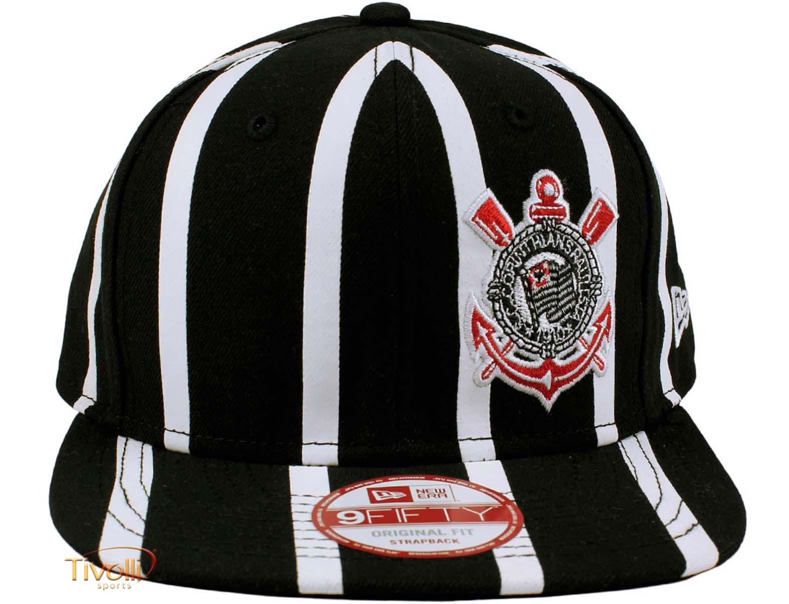 Boné New Era 9FIFTY Corinthians 1910   Preto e Branco Ajustável   f5eda0086d6