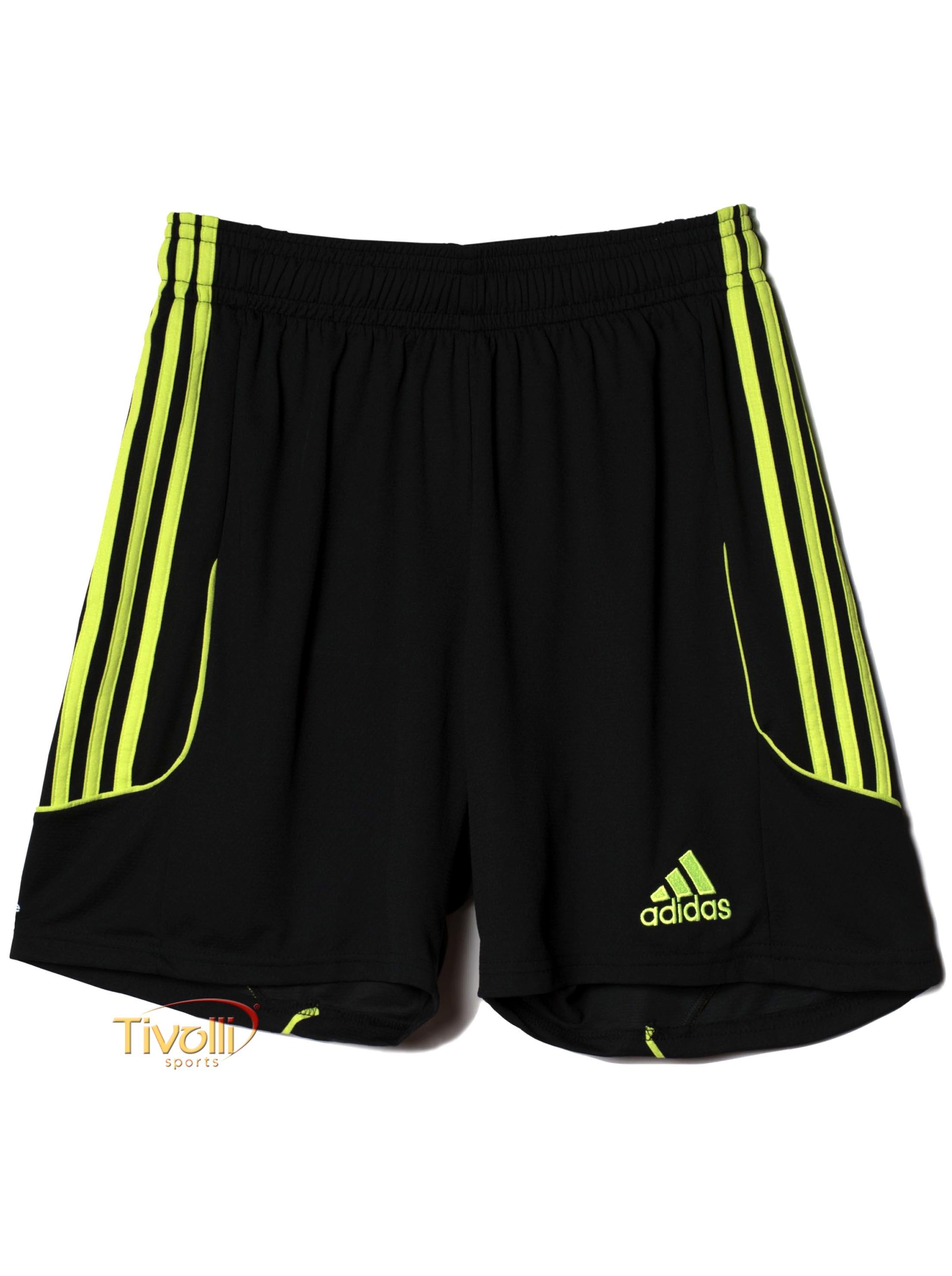 Shorts Adidas Squadra 13   Preto e Verde Limão   0b4880496d0bf