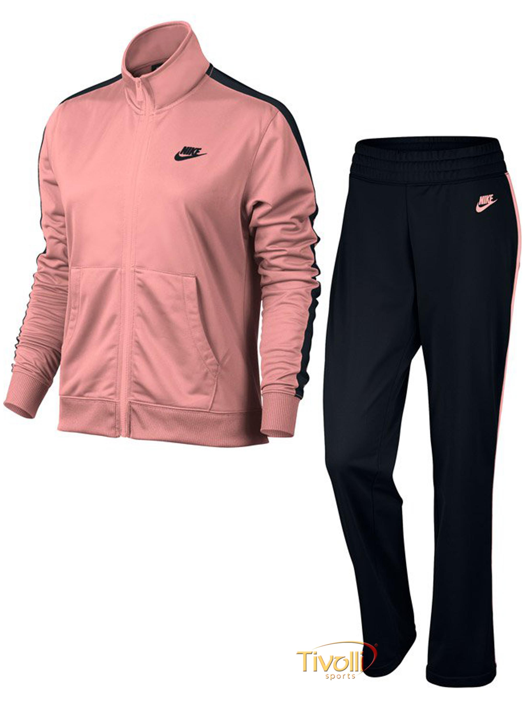 70a18fd25c ... c701022c1f1 Agasalho Nike Sportswear Track Suit Feminino Rosa e Preto  ...