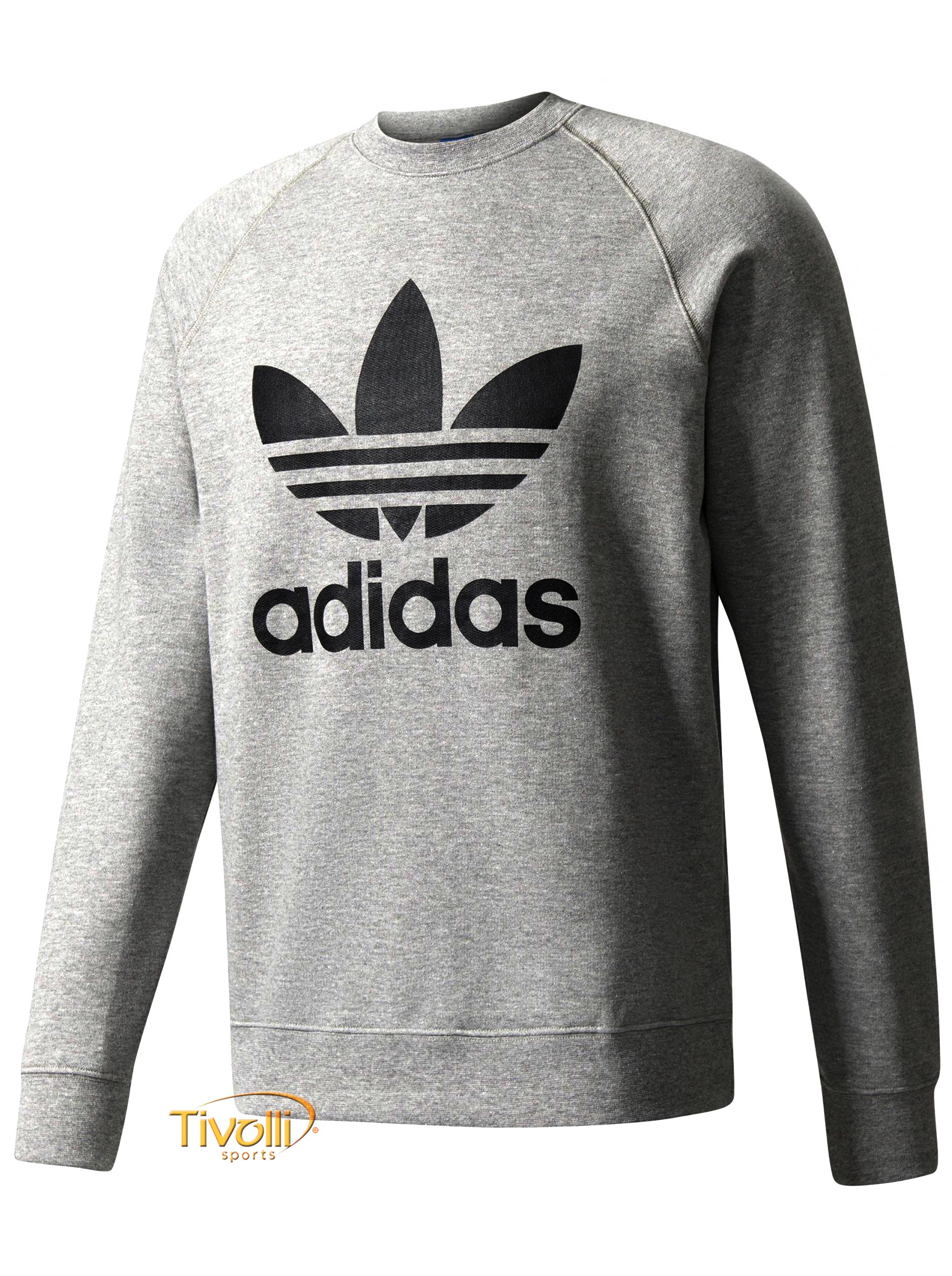 dcb81216cd7 Blusa Adidas Originals Moletom Crew Fleece Trefoil   Mescla