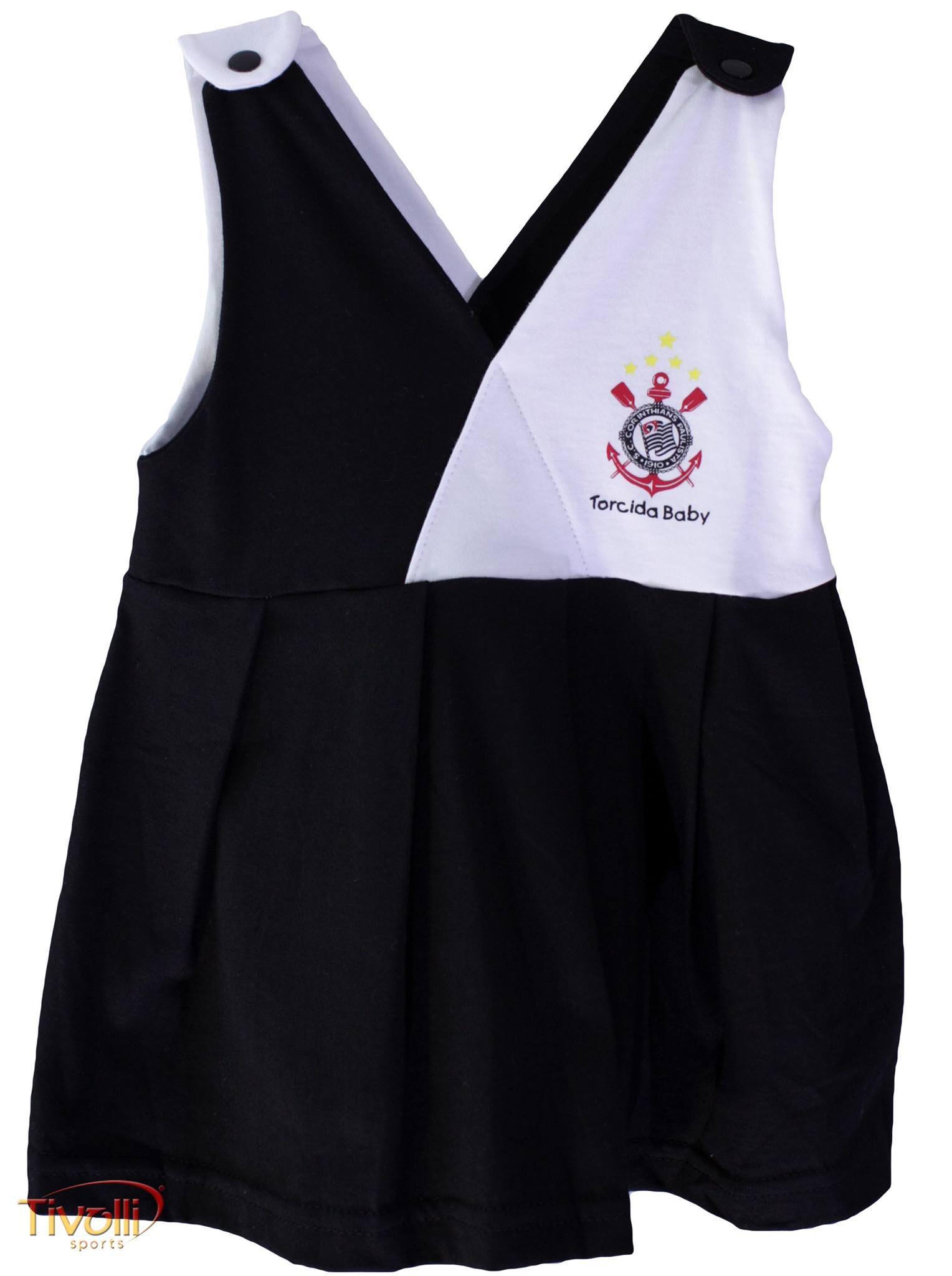 7f2a7776ff Vestido Corinthians Infantil Transpassado Torcida Baby Preto e Branco