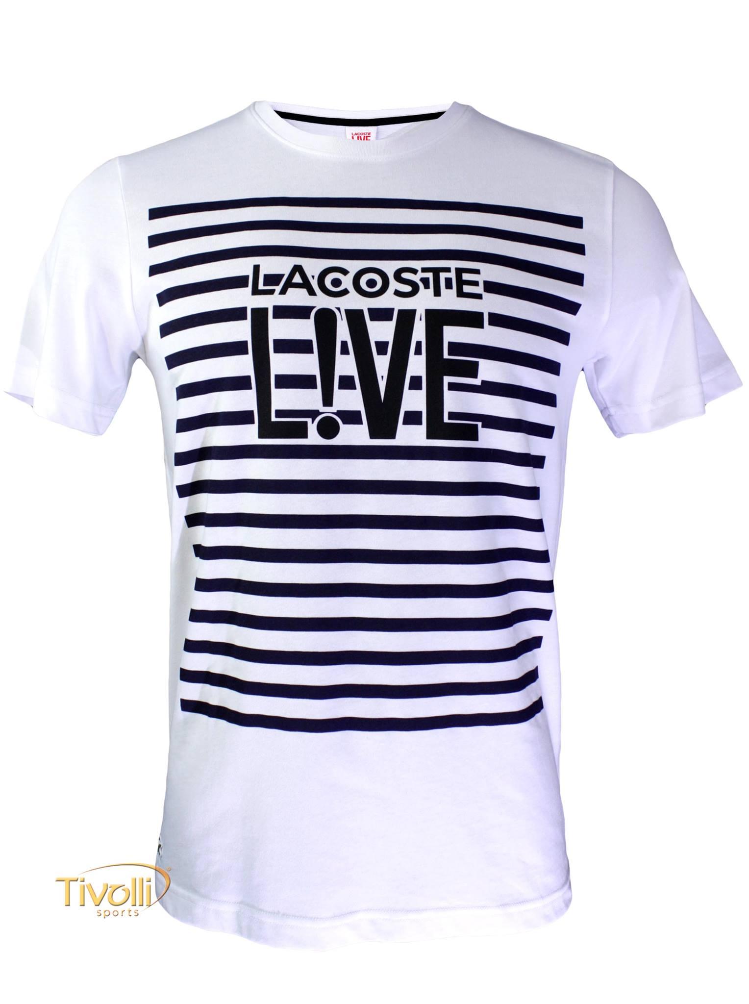 2ecad9bee8bd0 Camiseta Lacoste Live   Branca Estampada