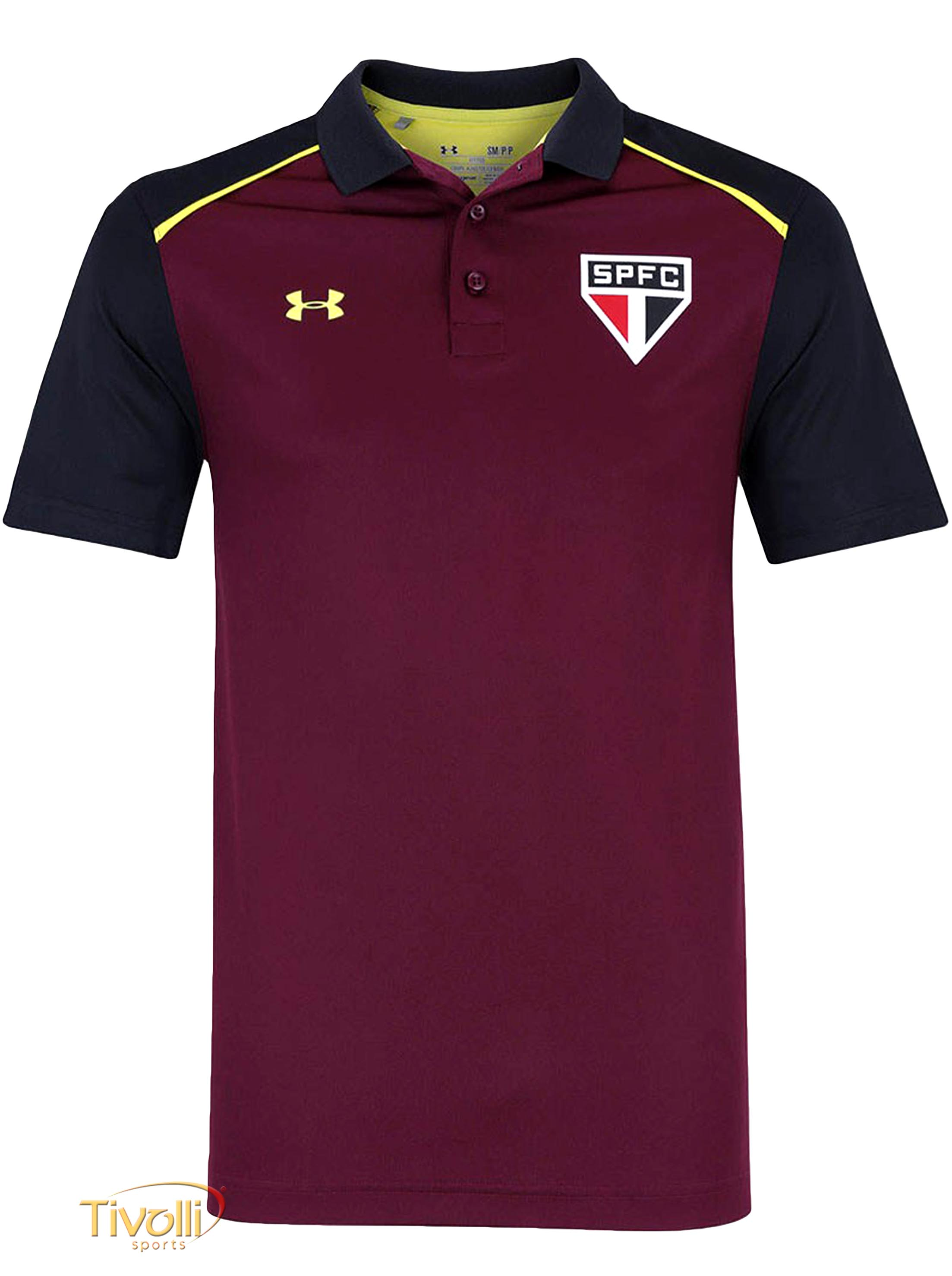 82239fb4d3180 Camisa Polo Under Armour São Paulo Core 17   Grafite e Bordô
