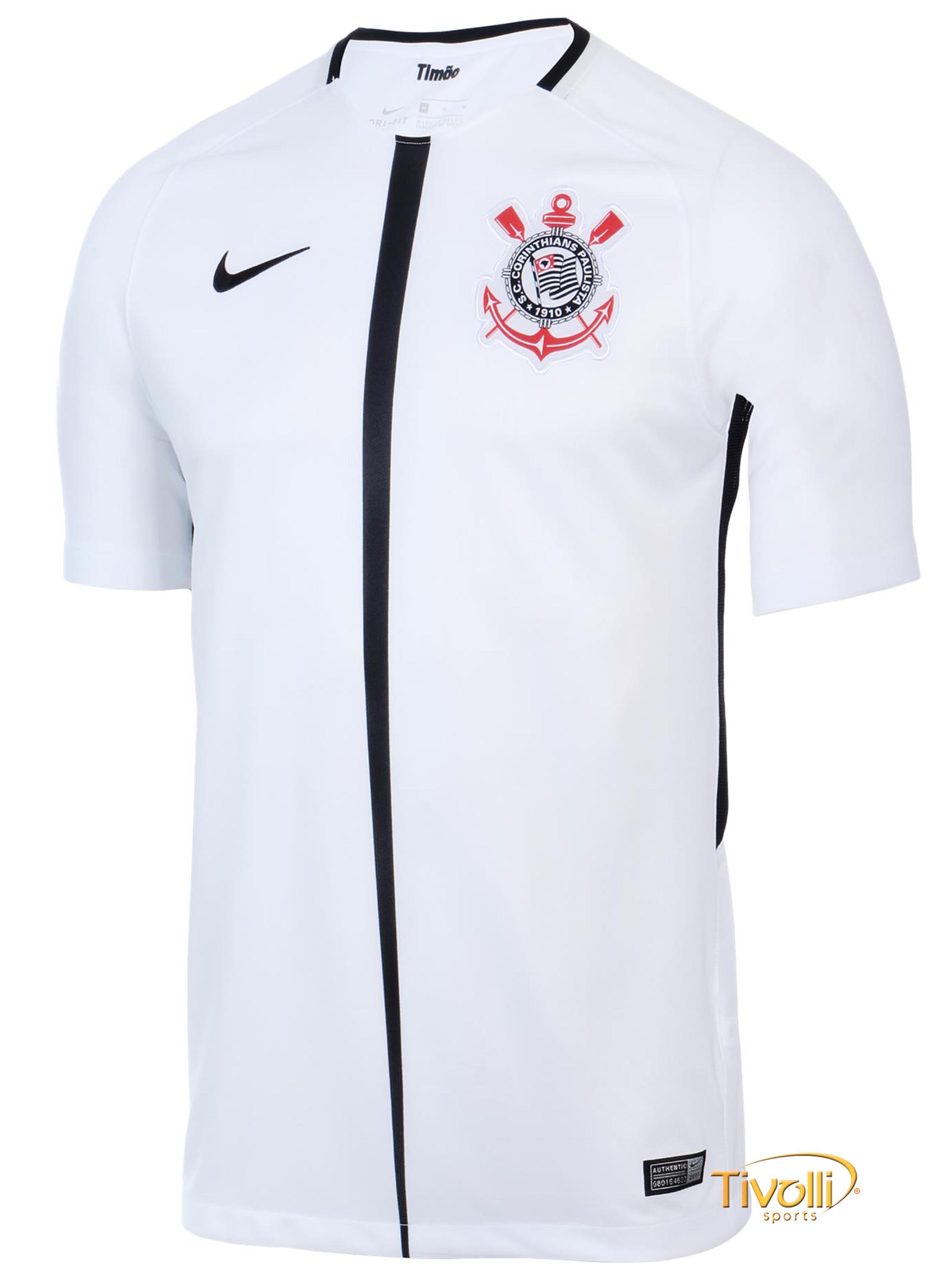 aaaad6a40a Camisa Corinthians I Torcedor 2017 18 Juvenil Nike   Branca e Preta