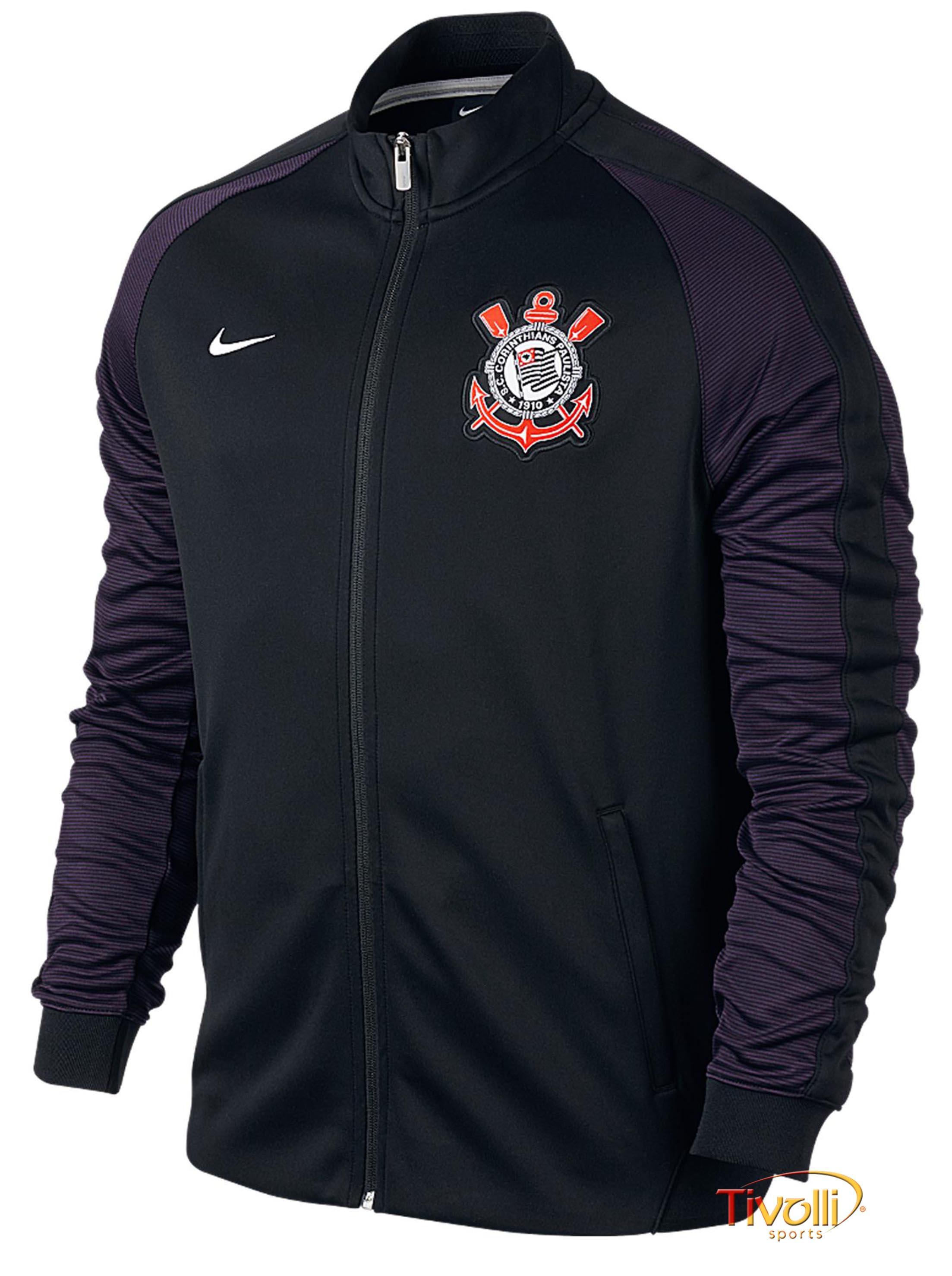4b9b0c5fa73 Jaqueta Nike Corinthians N98  a9b67121b62 Jaqueta Corinthians  N98 Authentic Nike Preta e Roxa ... a0b830f6df252
