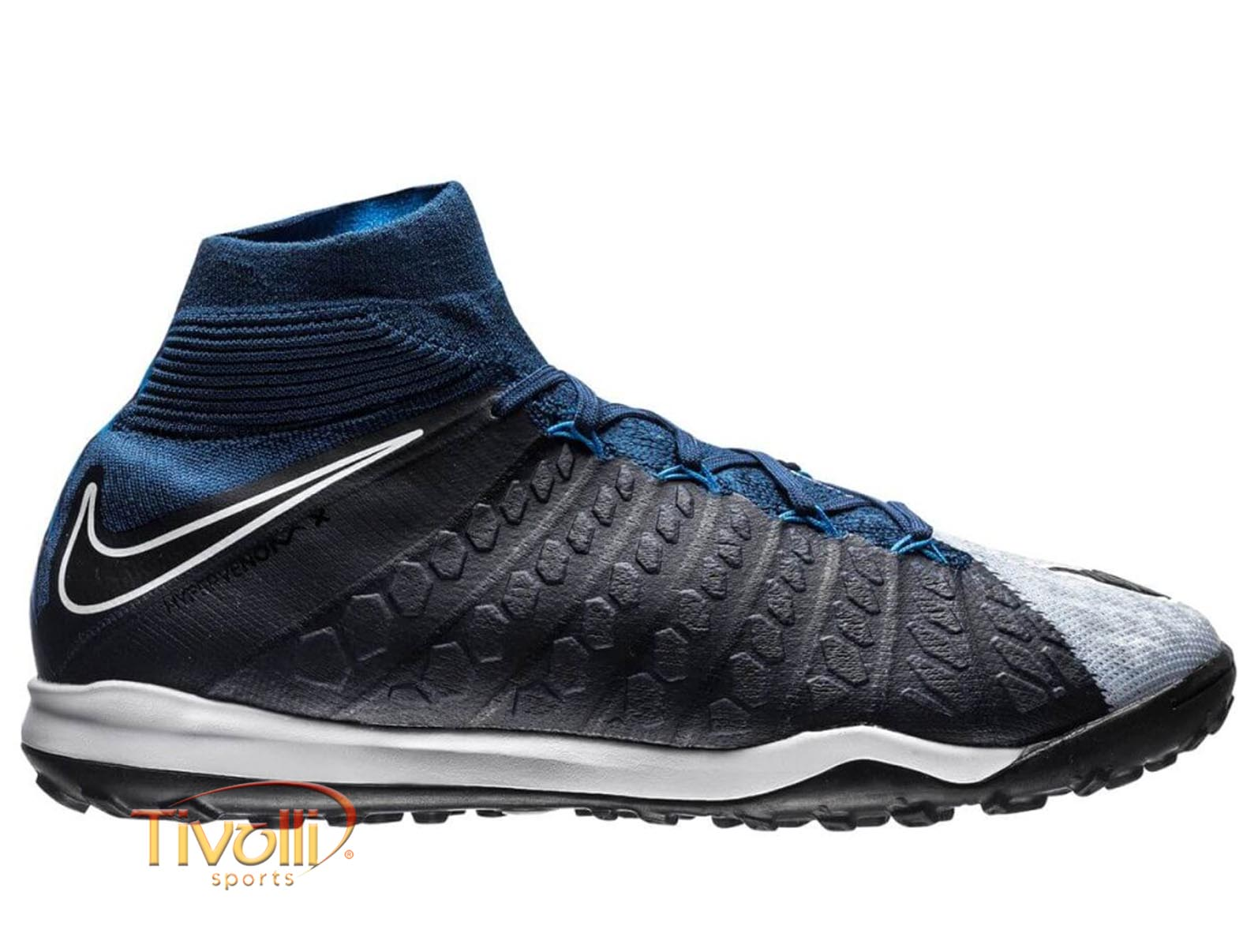 3906c691fcc00 Chuteira Nike HypervenomX Proximo II DF TF Society Azul Marinho, Cinza,  Branca e Preta