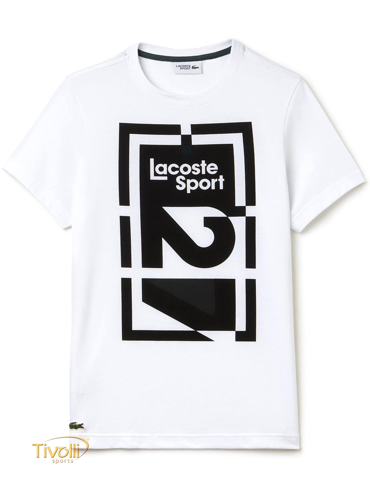 Camiseta Lacoste Sport Technical Jersey Abstract 27   Branca e Preta   b68473daf1