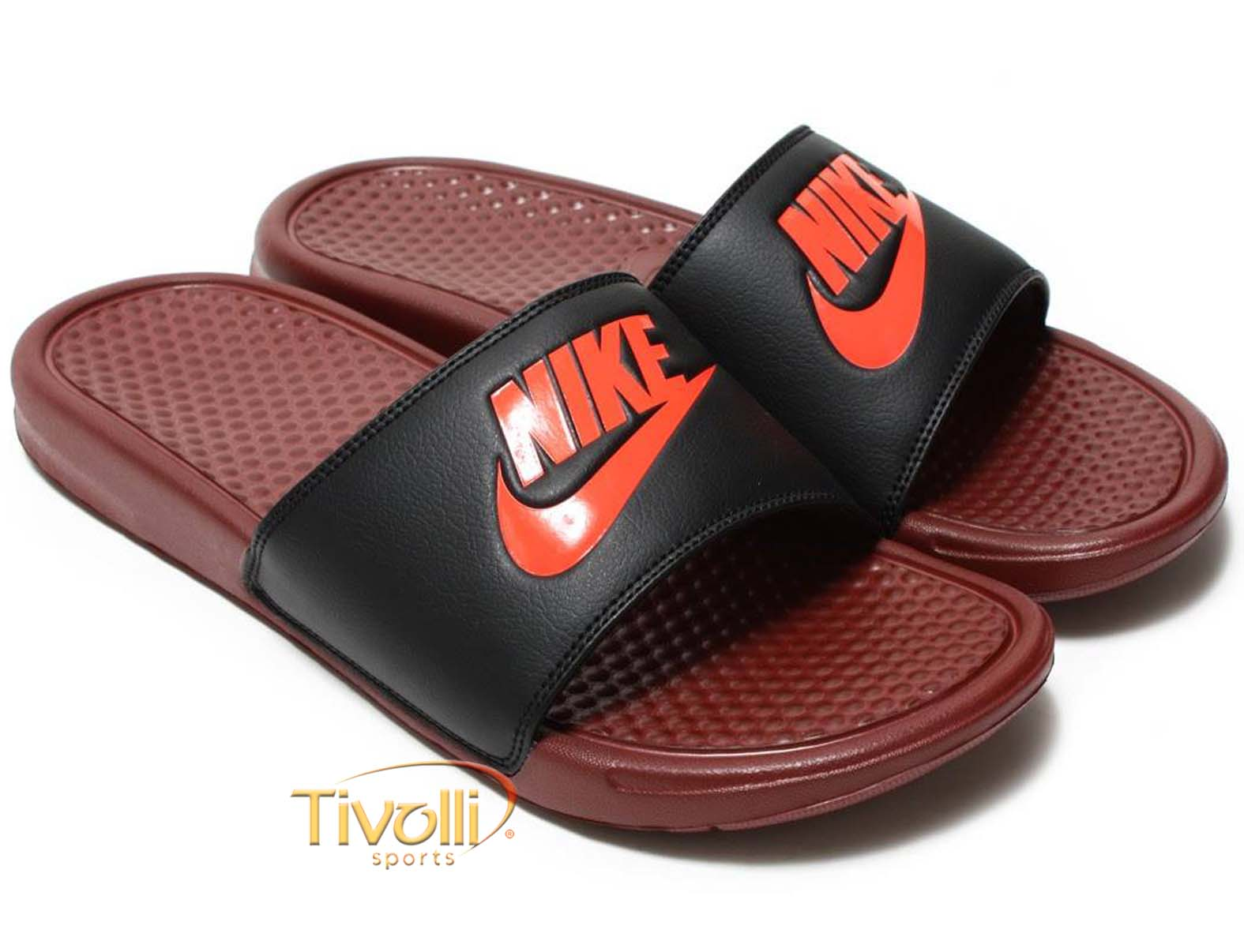 9a848fcc40 Chinelo Nike Benassi Just Do It   Vinho e Preto
