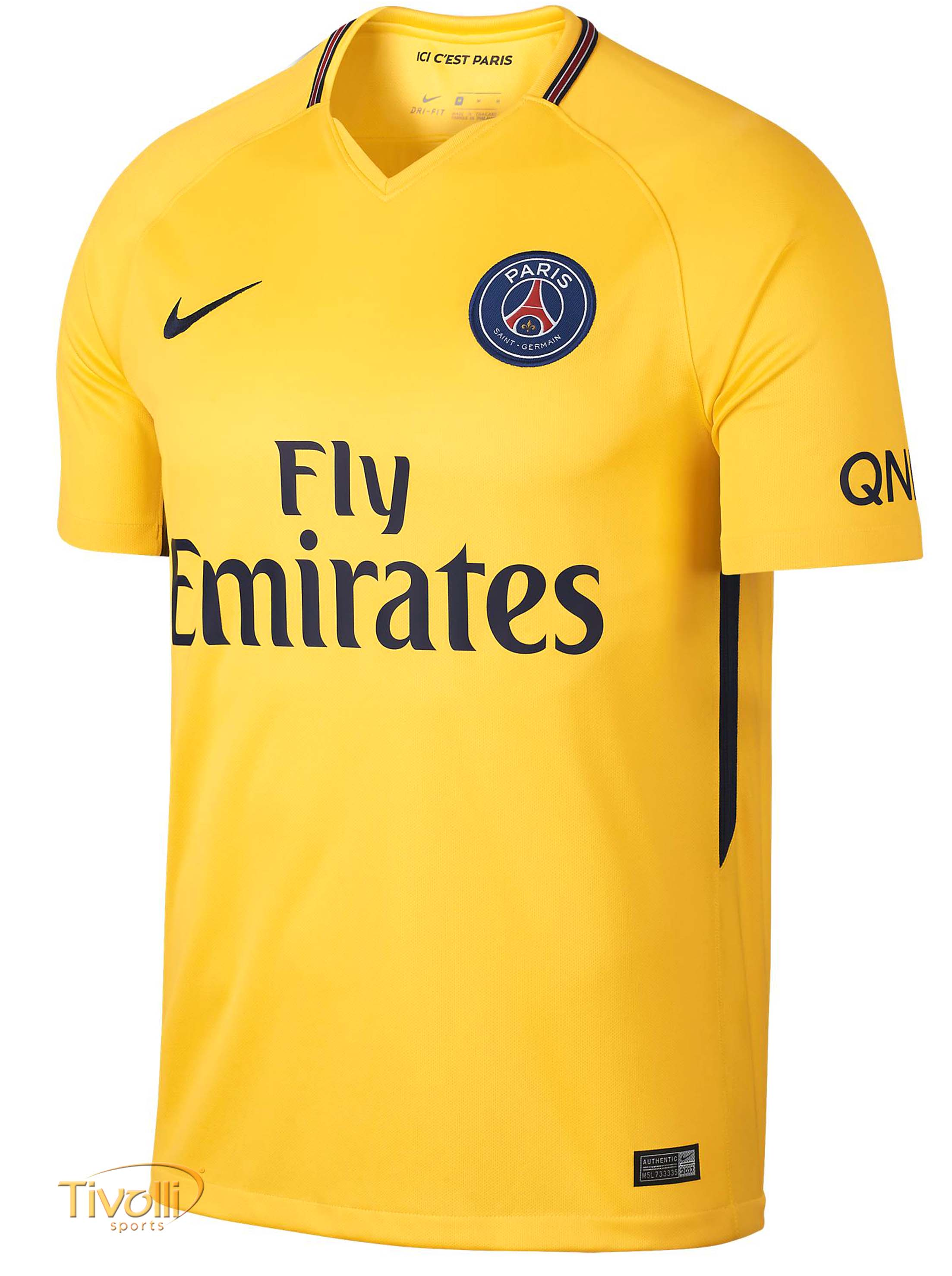 14f3bf0a14 Camisa Paris Saint-Germain PSG 2017 2018 II Away Nike Infantil Amarela