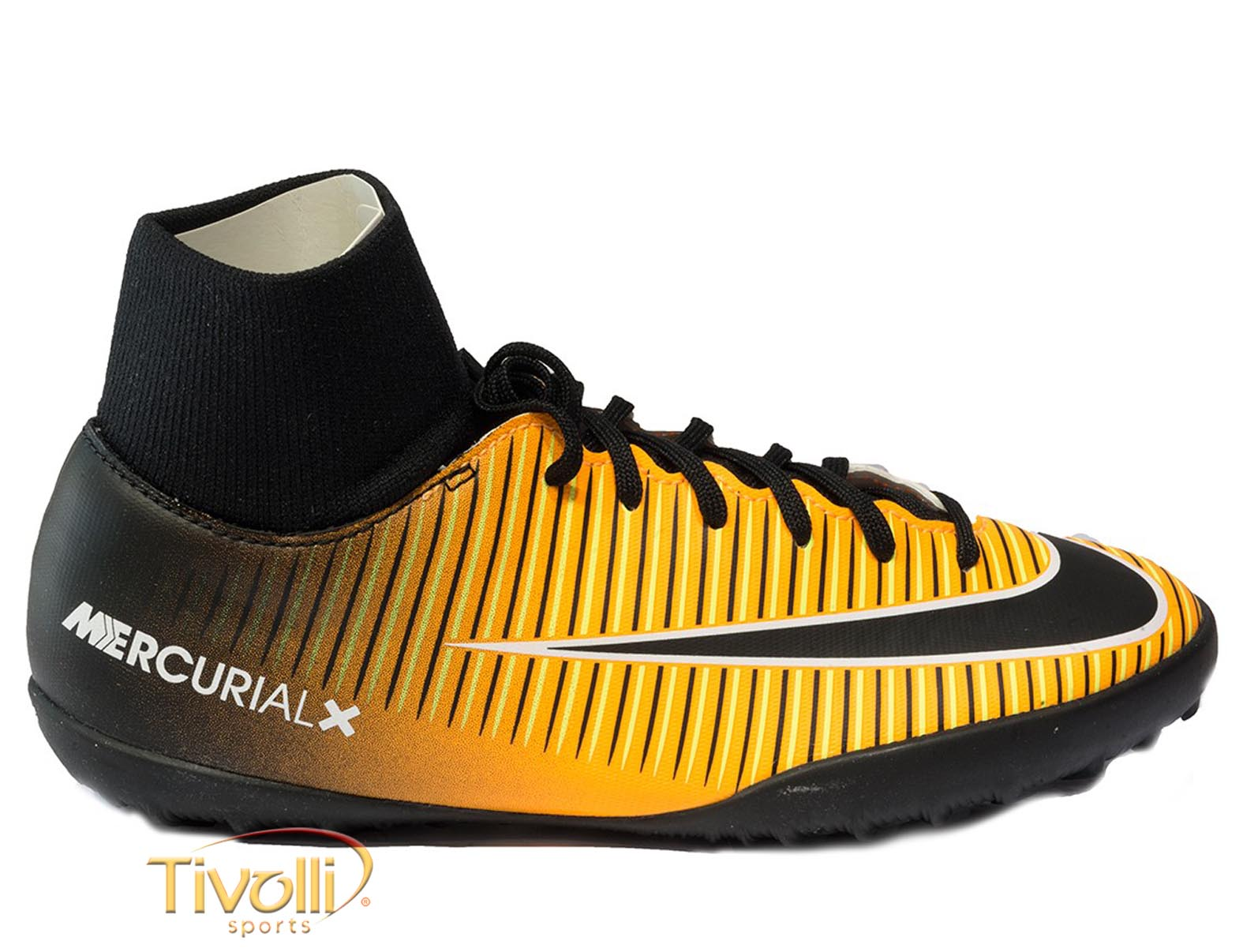 47c561ed1da1f Chuteira Nike JR. MercurialX Victory VI DF TF Society Infantil Preta