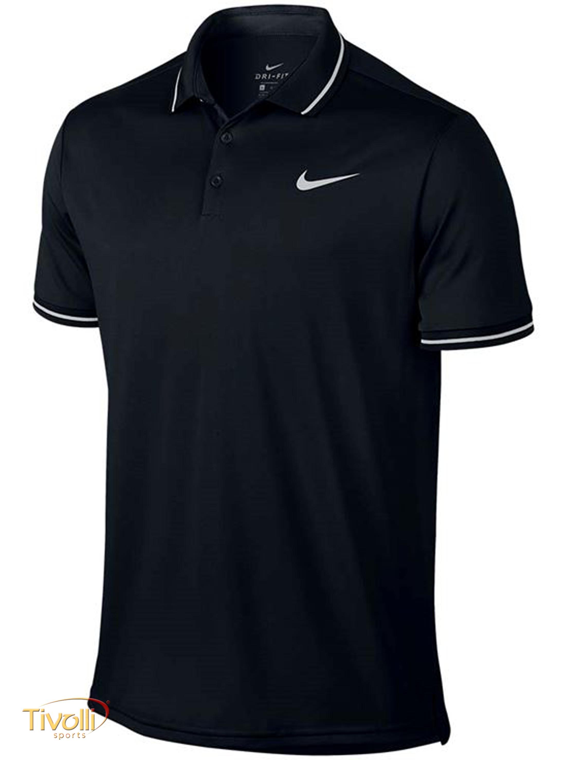 a0f4fca7d60da Camisa Polo Nike Court Dry Solid   Preta e Branca