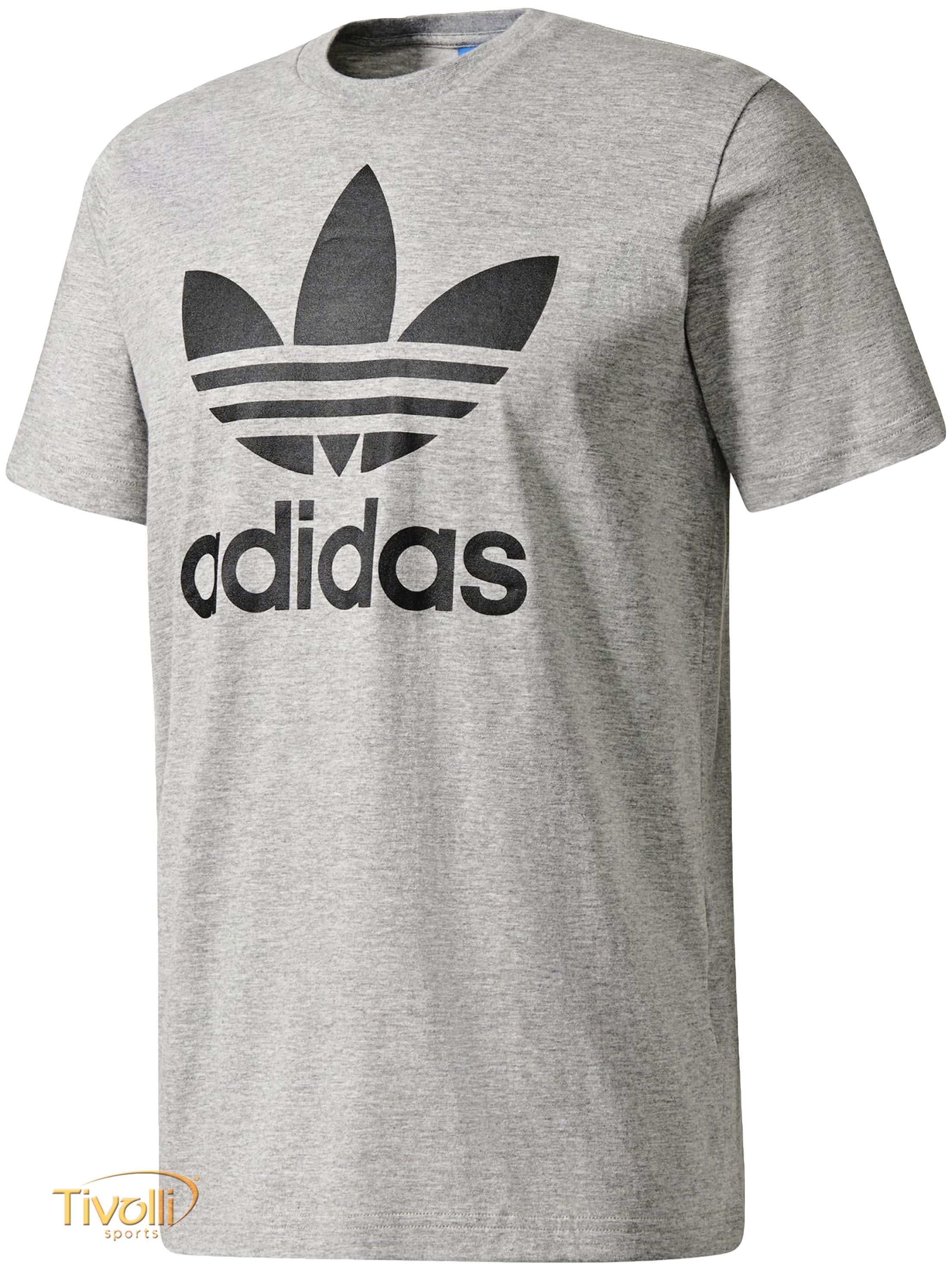 840b73f8908 Camiseta Adidas Originals Trefoil   Cinza e Preta