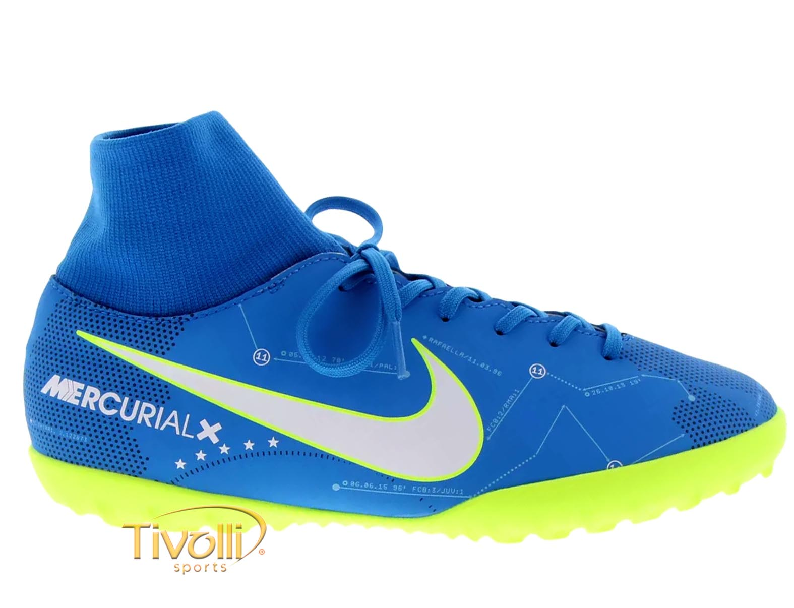 Chuteira Nike JR. MercurialX Victory VI Dynamic Fit DF Neymar Jr. TF Society  Infantil Azul e Verde Limão c27b671afa88b