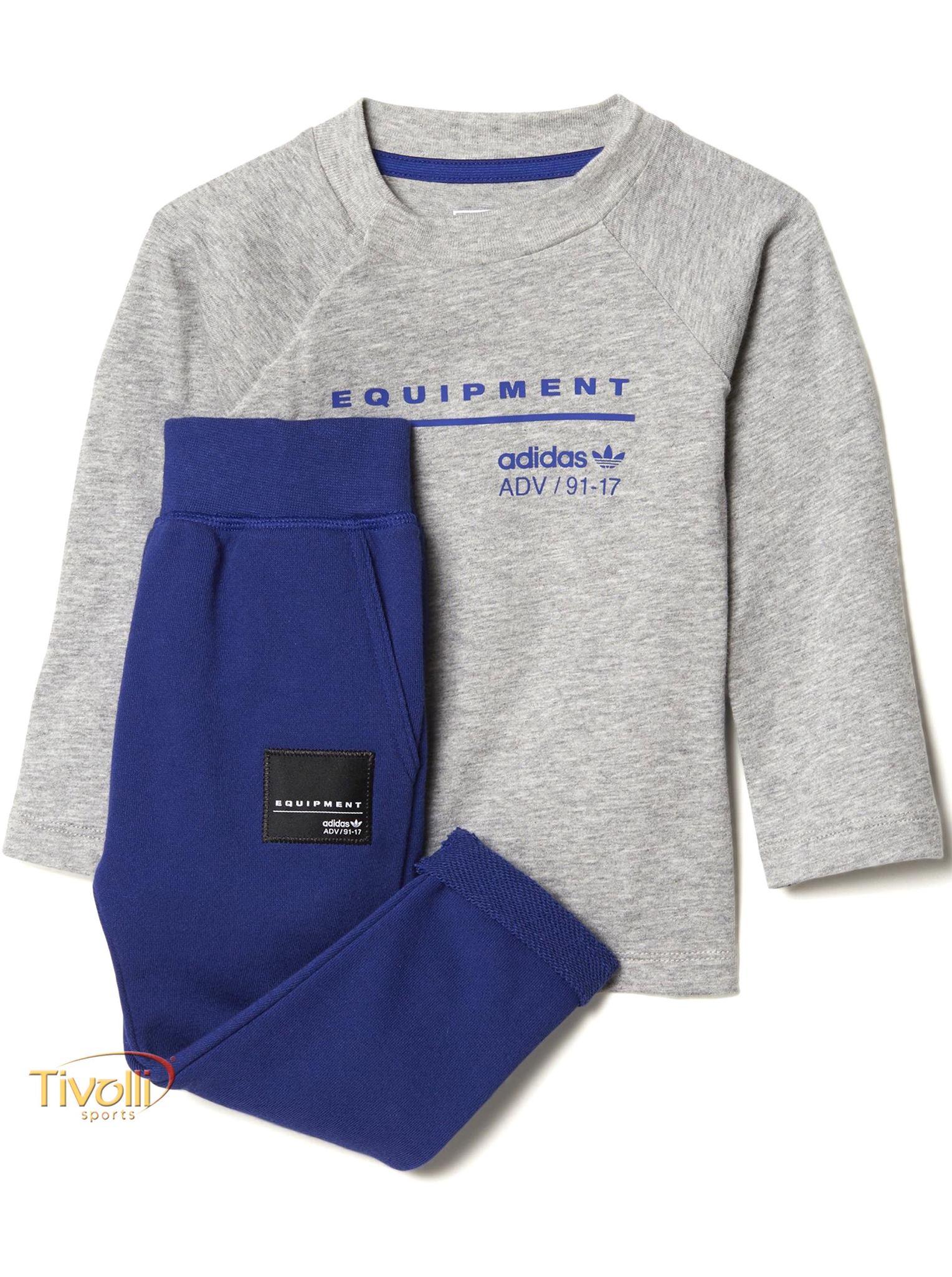 c383b4e9c3 Conjunto Esportivo EQT Adidas Originals Infantil > Cinza Mescla e Azul >