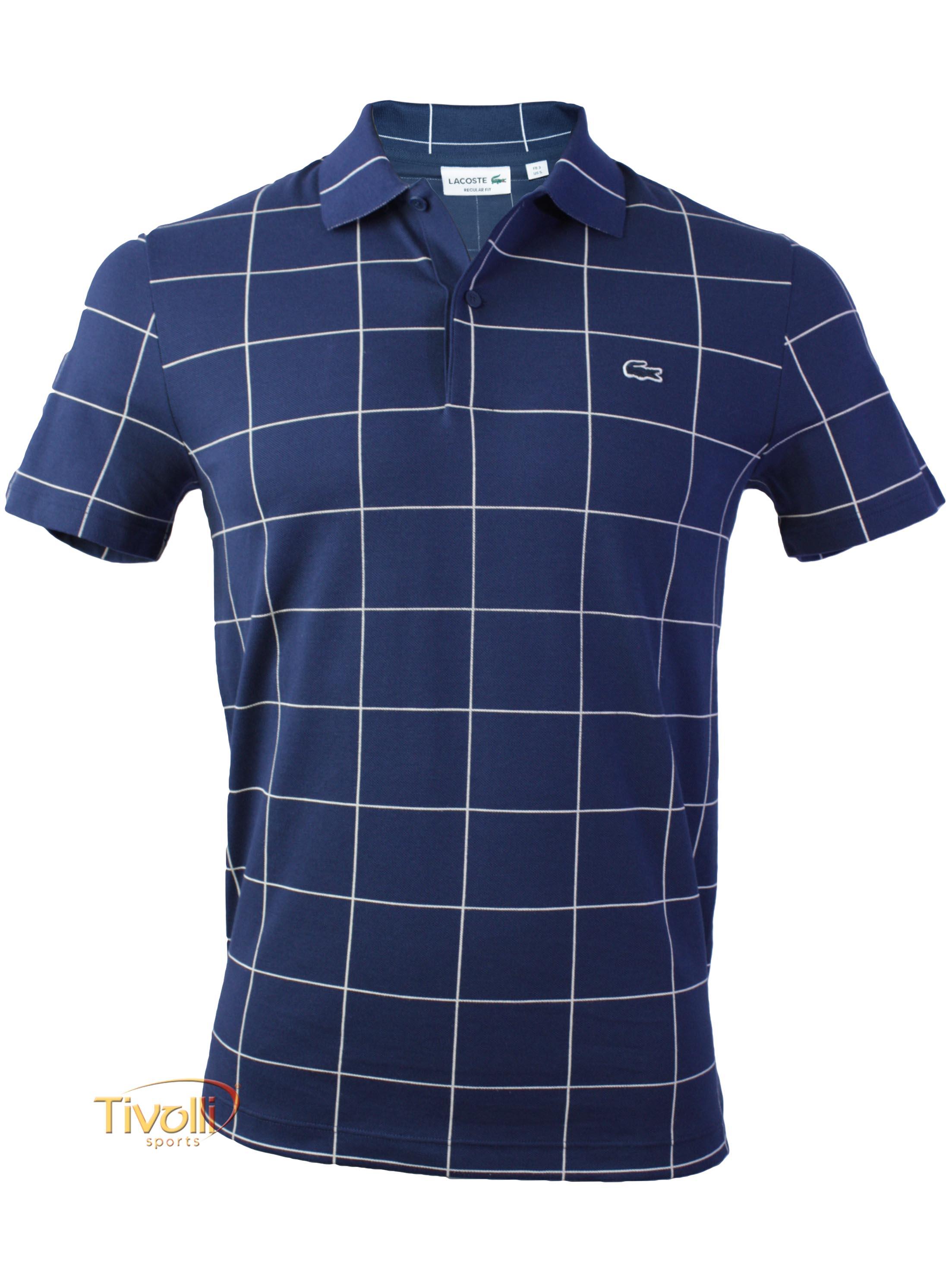 cea485ca2d336 Camisa Polo Lacoste   Quadriculada Azul Marinho