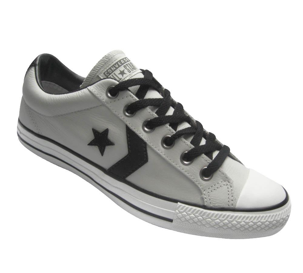 ff8000375f All Star Converse Star Player Leather   Cinza de couro