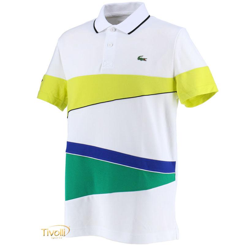 Camisa Polo Lacoste Sport Ultra Dry Piqué   Branca, Verde e Azul   c7088c9f8f