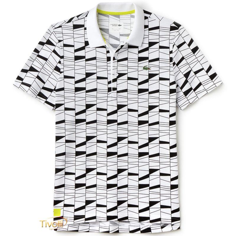 40c0bf7eaa Camisa Polo Lacoste Sport Fancy   Branca e Preta