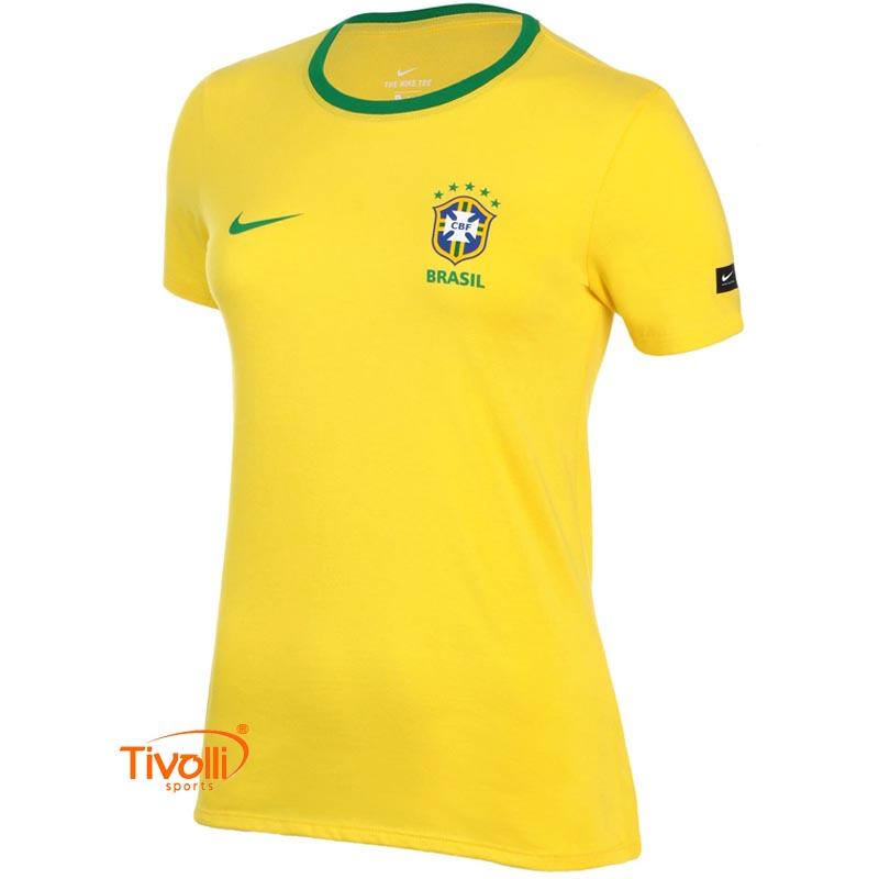 Camisa Brasil Nike Feminina Crest   CBF 2018 19   52310cc7deec6