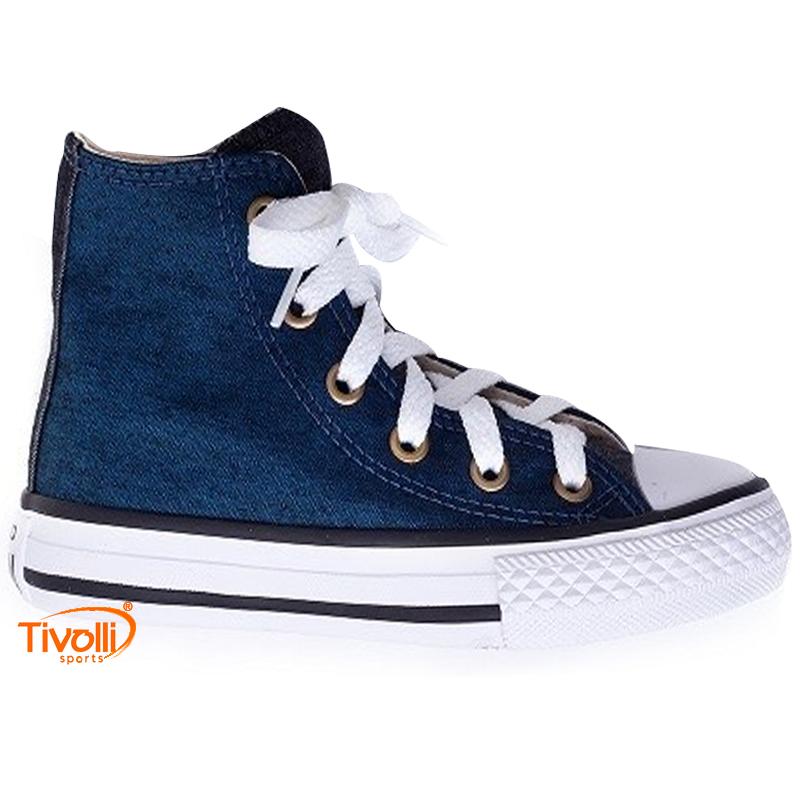 96b5c63c17 Tênis Converse All Star Chuck Taylor Jeans Cano alto Infantil azul petróleo