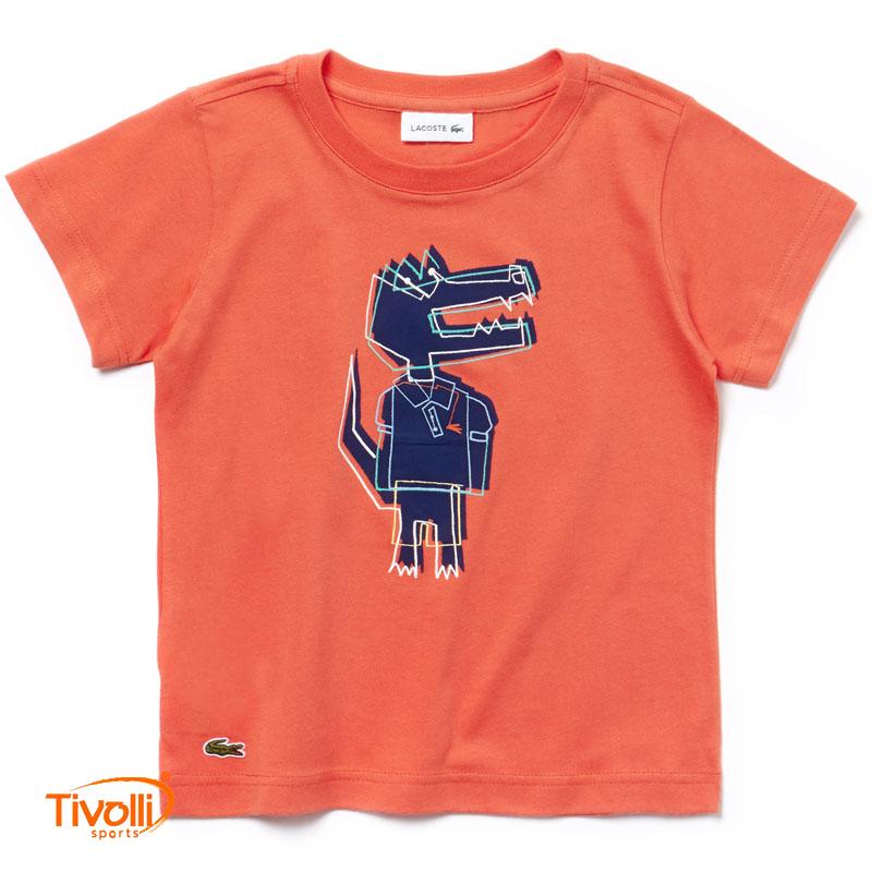 6b8f0841c64d1 Camiseta Lacoste Infantil   Crew Neck Crocodile Print Jersey