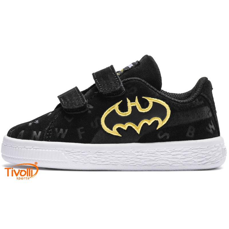 58b059f1ecb Tênis Puma Suede Justice League Batman infantil Suede AOP V tam. 19 ao 25