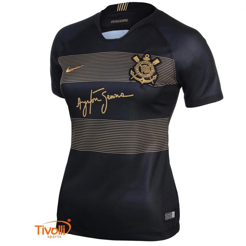 Camisa Nike Corinthians III Senna   2018 19 Torcedor Feminina   c844b575515c6