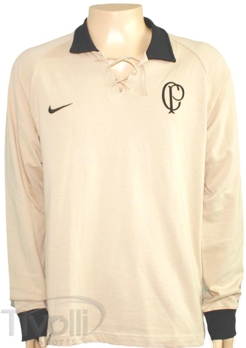 89bf80c4641d6 Camisa Corinthians Vintage Nike 1910   Bege com preto Ref.  385654