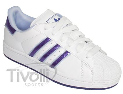 9d34949bb317a Tênis Adidas Star   Branco  roxo glitter
