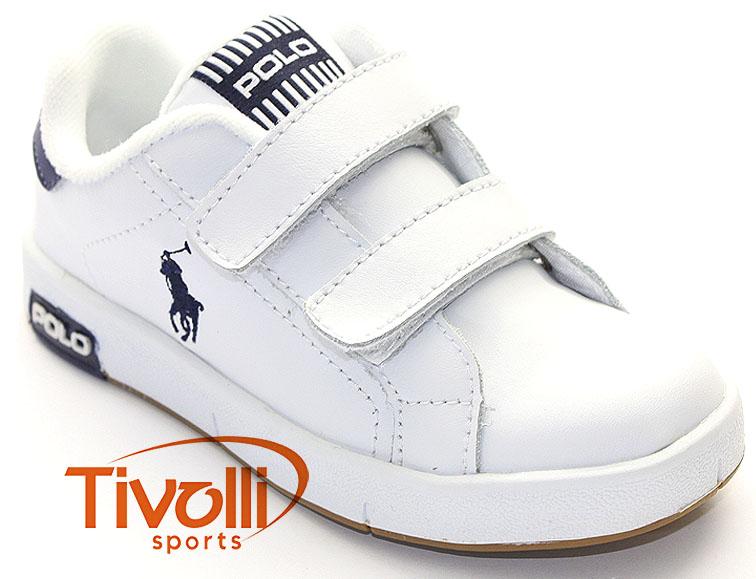 6c78a9d9aa Tênis Polo Ralph Lauren Kids Court Stripe EZ > Infantil - Branco/Azul >
