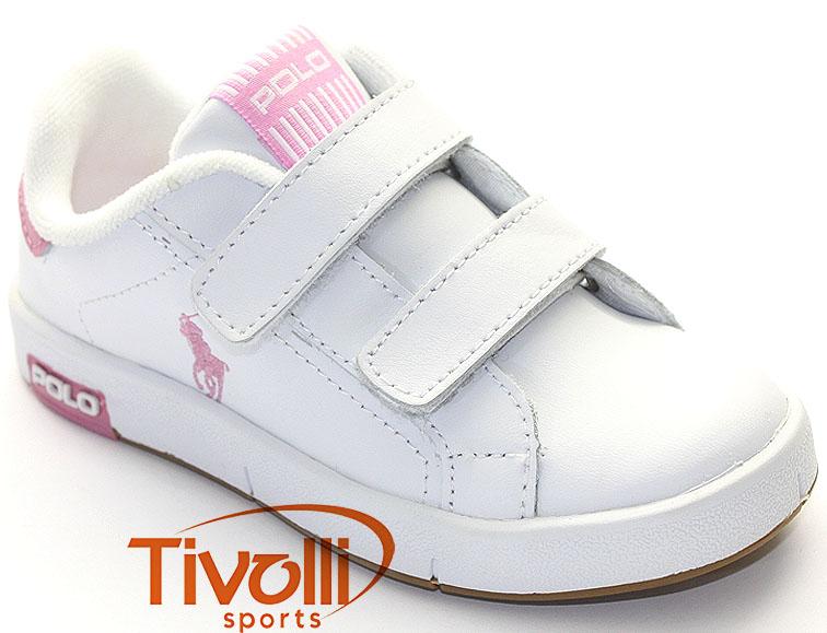 781282c68a Tênis Polo Ralph Lauren Kids Court Stripe EZ > Infantil - Branco/Rosa >