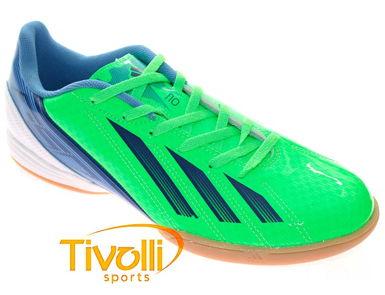 eed63d6a0c Chuteira Adidas F10 IN   Verde Azul Branco - Ref  G65331