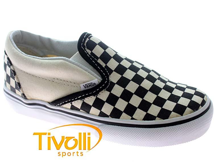 ad4a4e5f948 Tênis Vans Infantil Classic Slip-On Kids Xadrez Bege e Preto - Mega Saldão
