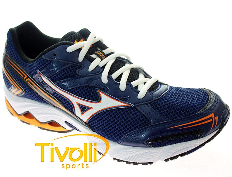 Tênis Mizuno Wave Vitality 2   Azul Branco Laranja   57f01286971c4